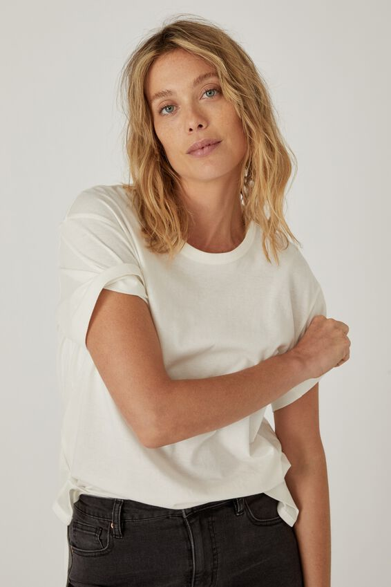 Organic Oversized Daily Step Hem Tee, WHITE