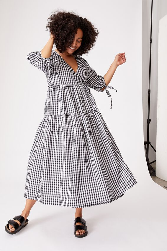 Picnic Wrap Dress, BLACK GINGHAM