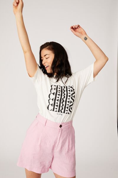 The Organic Daily Print Tee, WHITE/BLACK CERES CERES CERES