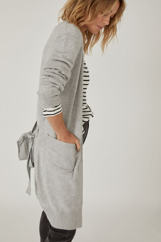 Soft Longline Cardigan, LIGHT GREY MARLE