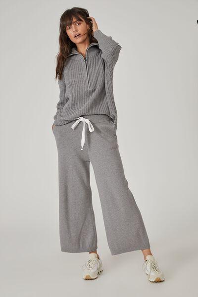Australian Cotton Wide Leg Knit Pant, CHARCOAL MARLE
