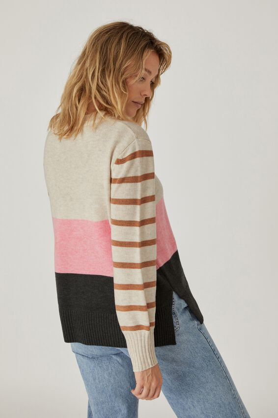Soft Stripe Crew Sweater, OATMEAL PINK TAN CHARCOAL BLOCK