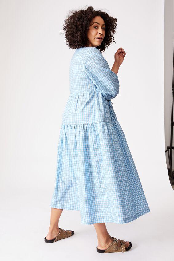 Picnic Wrap Dress, INFINITY BLUE CHECK