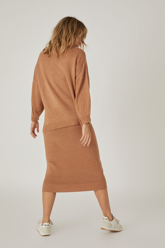 Soft Knit Skirt, TAN MARLE