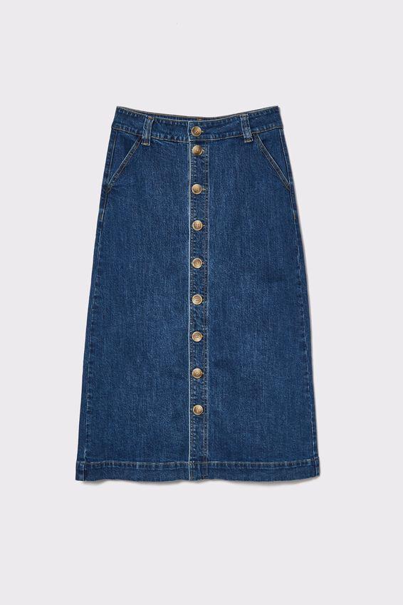 Button Through Midi Skirt, INDIGO BLUE