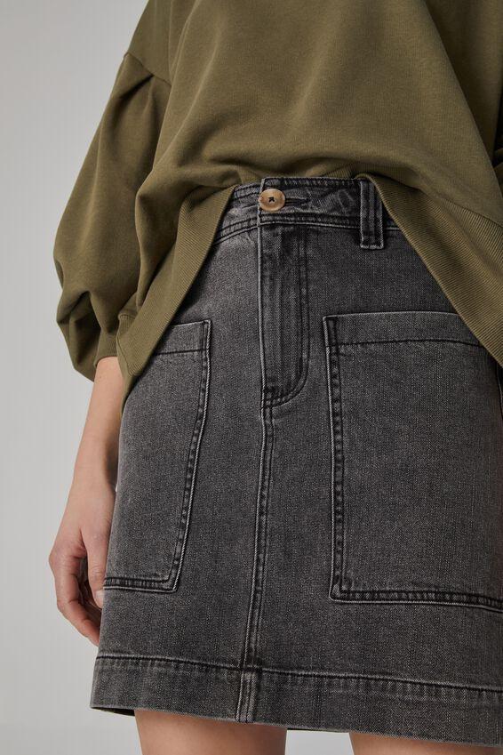 Square Pocket Denim Mini Skirt, SHADDOW