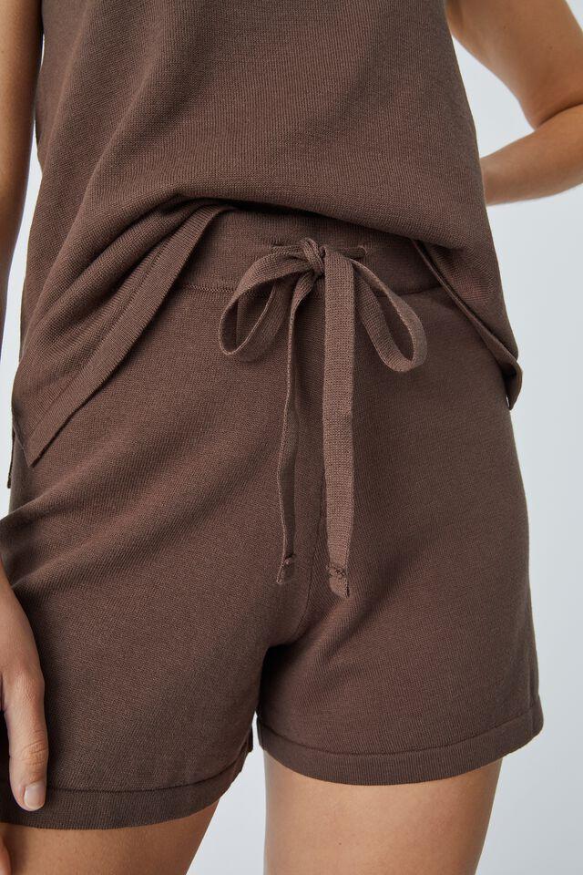 Organic Cotton Knit Short, BITTER CHOCOLATE