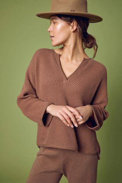 Organic Long Sleeve Waffle Knit Tee, CLOVE