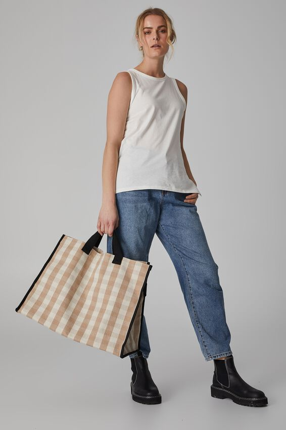 Oversized Gingham Tote Bag, BEIGE