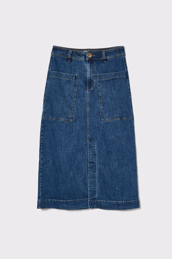 Square Pocket Denim Midi Skirt, INDIGO BLUE