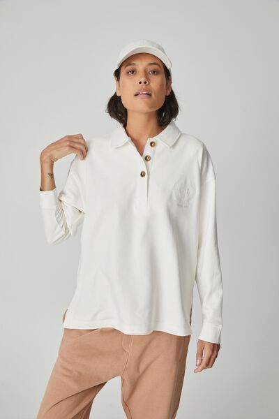 Organic Oversized Rugby Top, WHITE