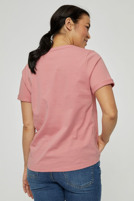 Organic U Neck Daily Tee, WASHED PINK
