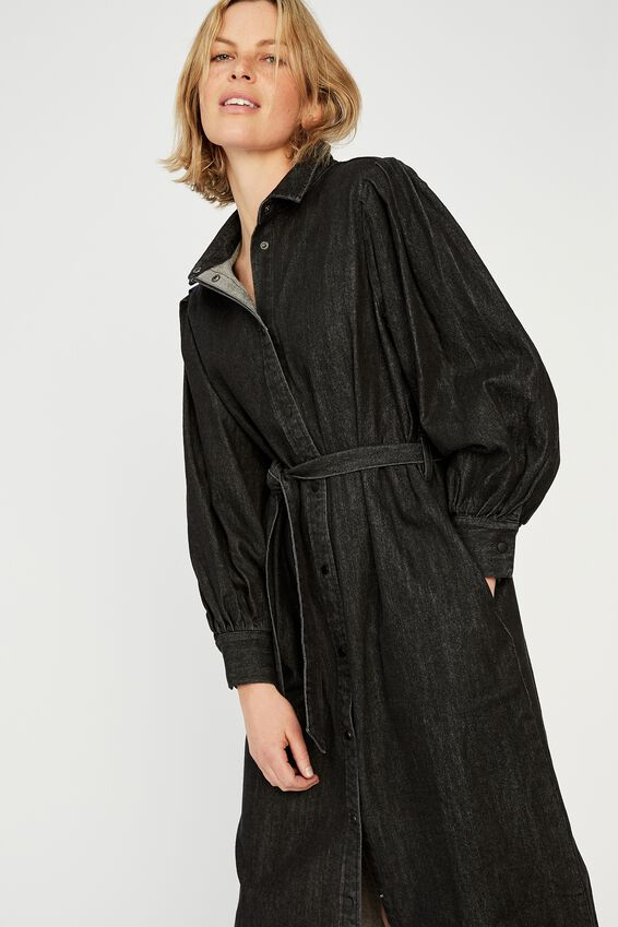 Talisman Shirt Dress, BLACK