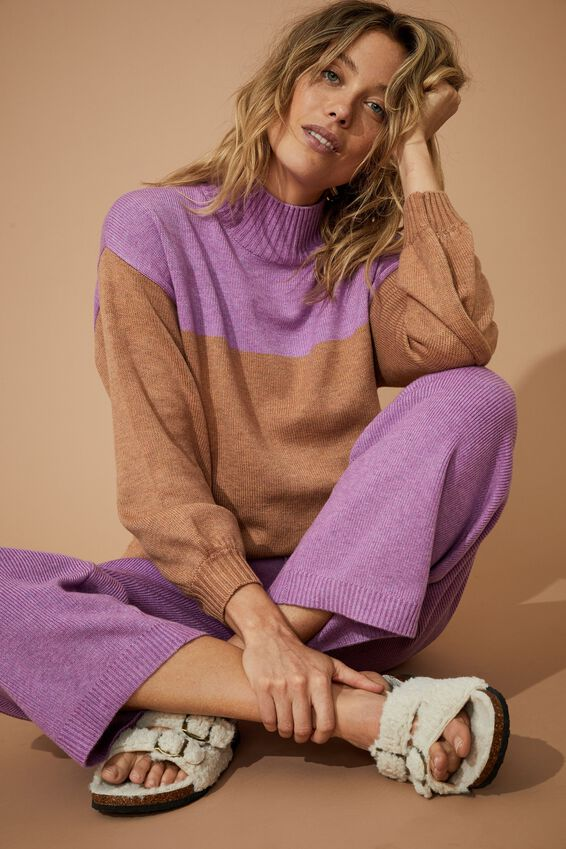Soft High Neck Slouch Jumper, ORCHID MARLE TAN MARLE COLOUR BLOCK