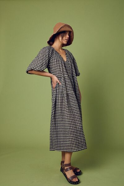 Shirred Puff Sleeve Midi Dress In Organic Gingham, PEBBLE BLACK CHECK