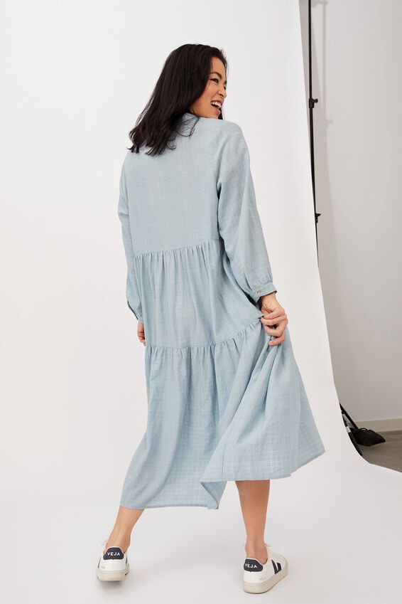 Tiered Shirt Dress, DUSTY AQUA CHECK