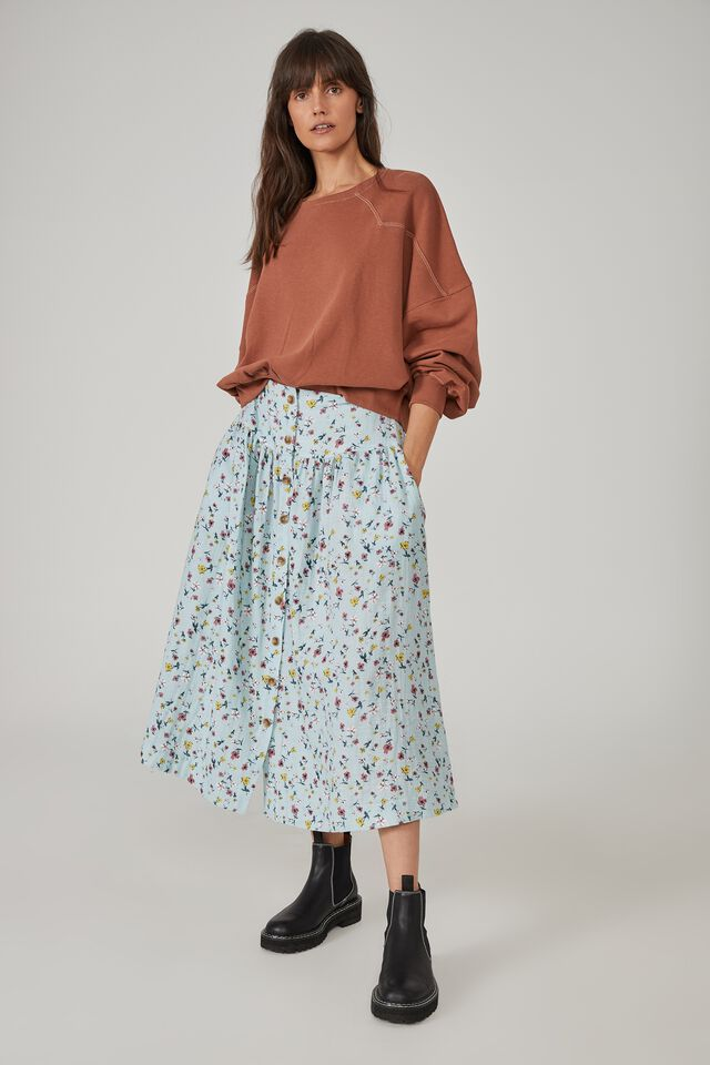 Florence Skirt, PALE BLUE FLORAL