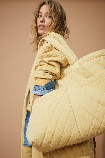 Quilted Tote Bag, MELLOW YELLOW