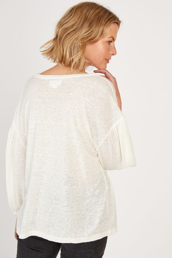 Linen Balloon Sleeve Tee, WHITE