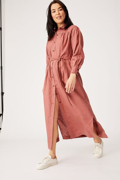 Linen Shirt Dress, RUST