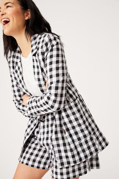 Gingham Blazer, BLACK TEXTURED GINGHAM