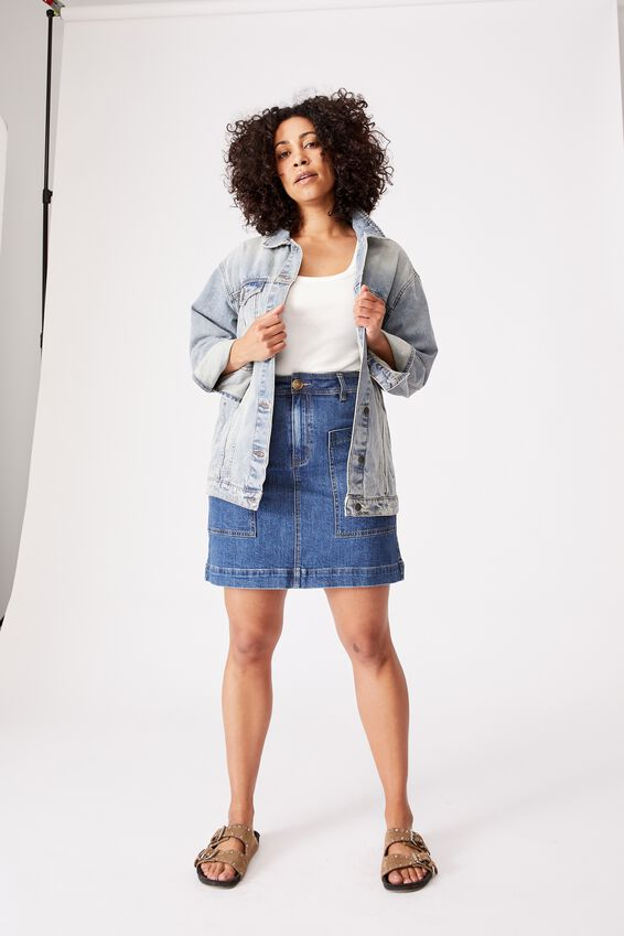 Oversized Denim Jacket, RESCUE MID BLUE WASH