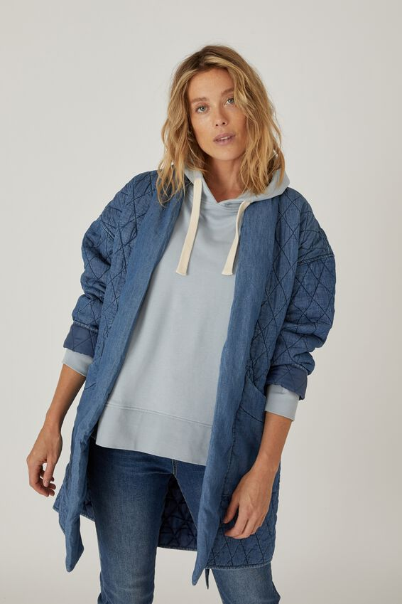 Longline Quilted Jacket, CHAMBRAY