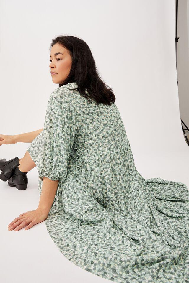 Picnic Wrap Dress, PALE GREEN FLORAL