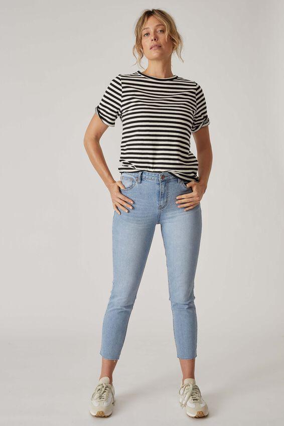 Raw Hem Skinny Leg Jean, VINTAGE BLUE