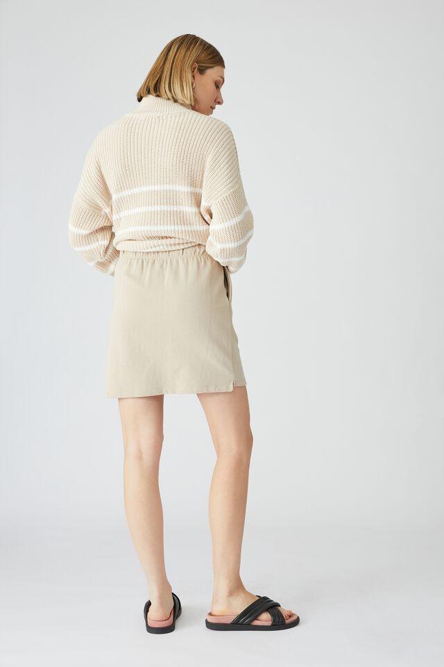 Organic Fleece Mini Tube Skirt, PEBBLE