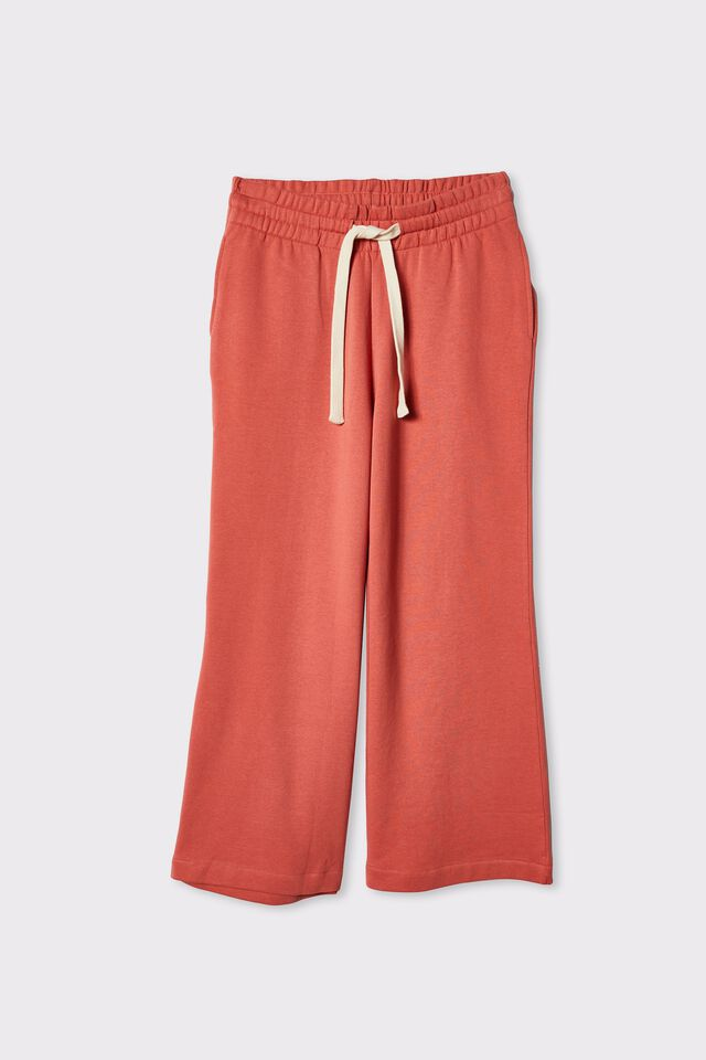 Organic Cropped Wide Leg Trackpant, FADED ROSE