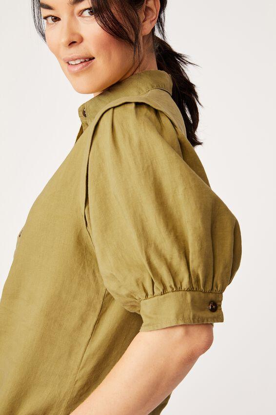 Linen Puff Sleeve Shirt, DILL