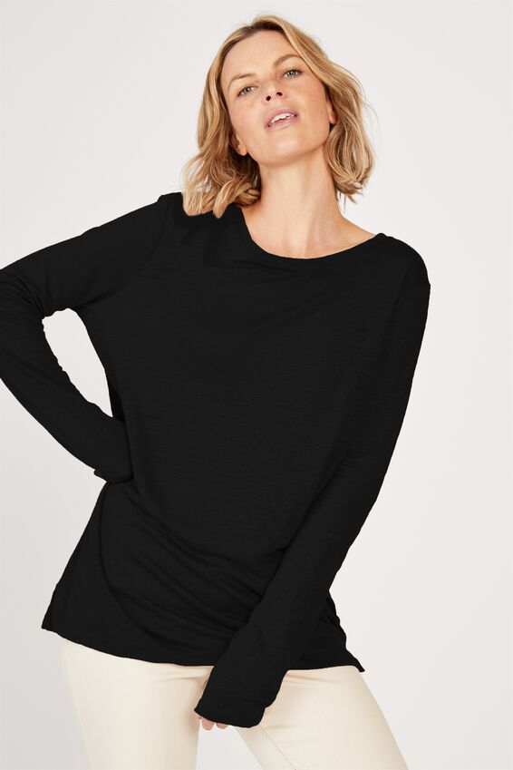 Linen Long Sleeve Crew, BLACK