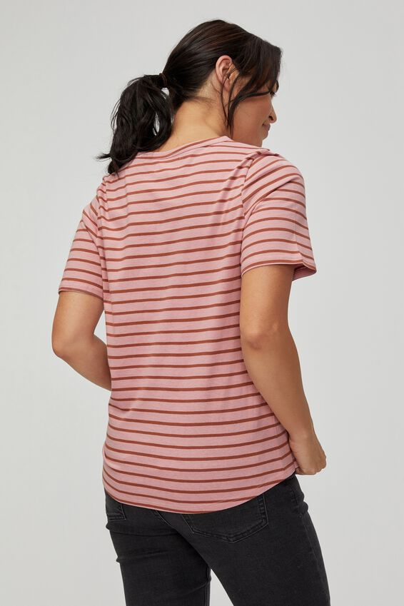Organic Daily Tee, WASHED PINK RUST STRIPE