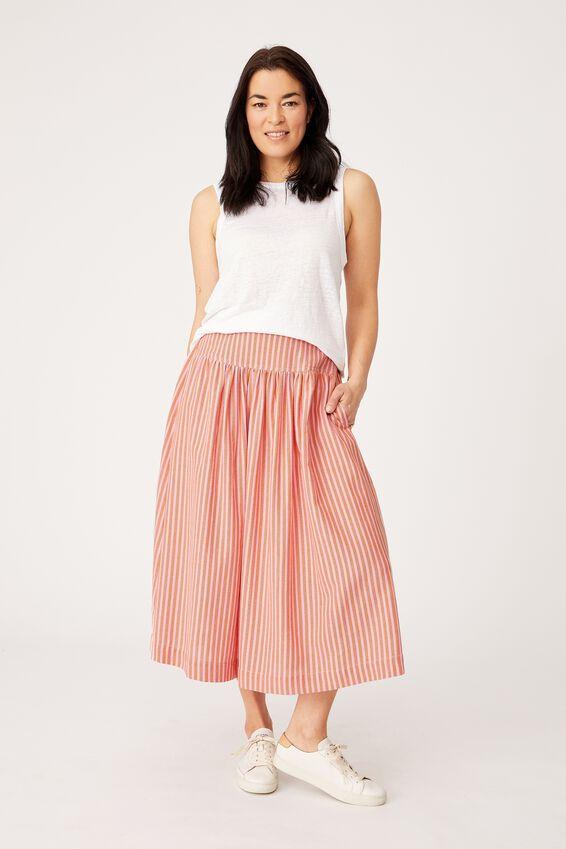 Franklin Skirt, PINK RUST STRIPE