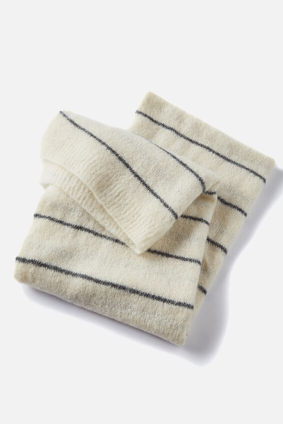 Alpaca Wool Blend Oversized Knit Scarf, CREAM CHARCOAL STRIPE