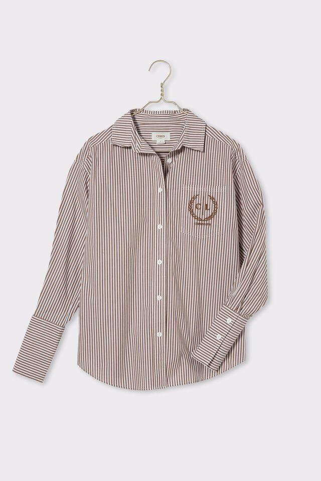 Preppy Shirt, TAN STRIPE