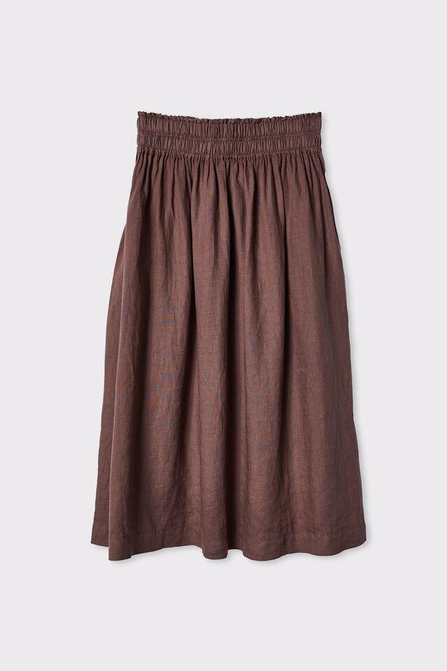 Linen Midi Skirt, BITTER CHOC