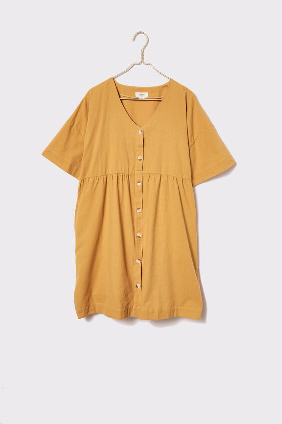 Cotton Babydoll Dress, HONEY GOLD