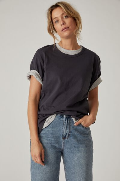 Organic Oversized Daily Step Hem Tee, LEAD GREY