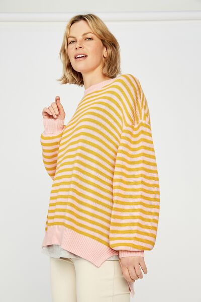 Stripe Split Hem Jumper, PINK/GOLD STRIPE