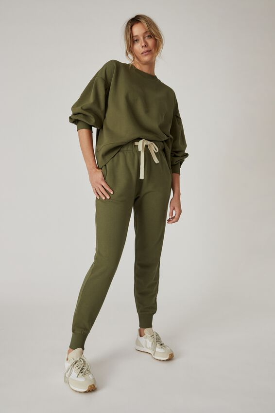 Organic Cotton Trackpant, SOFT OLIVE
