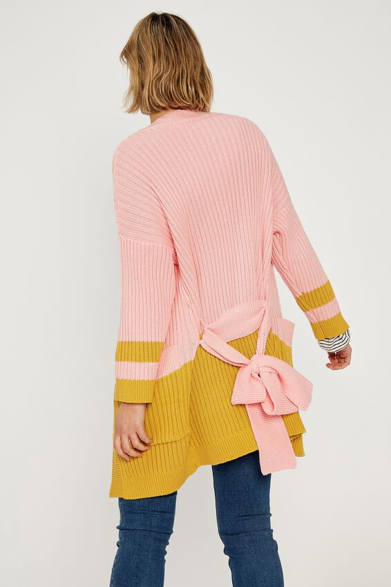 Belted Wrap Cardigan, PINK GOLD BLOCK