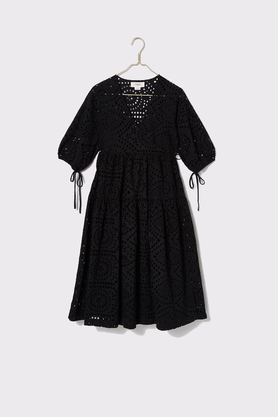 Bloom Broderie Wrap Dress, BLACK