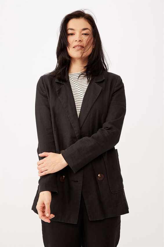 Relaxed Linen Blazer, BLACK