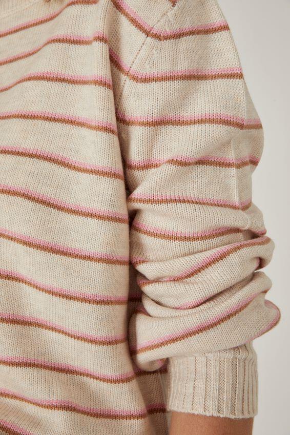 Soft Stripe Crew Sweater, OATMEAL PINK TAN STRIPE