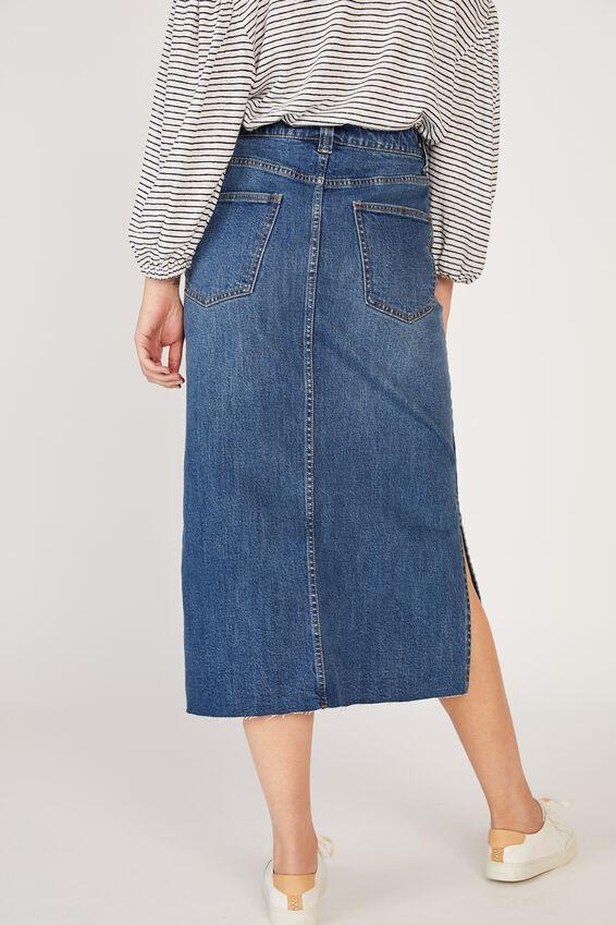 Side Split Denim Midi Skirt, INDIGO BLUE