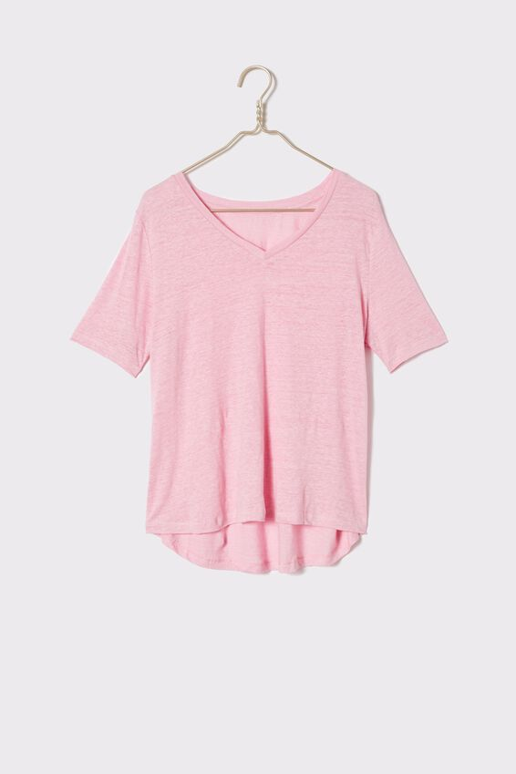 Linen V-Neck Weekend Tee, FAIRY FLOSS PINK
