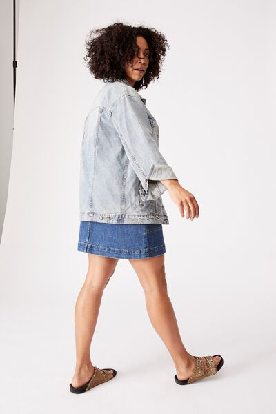 Oversized Denim Jacket, MID BLUE WASH