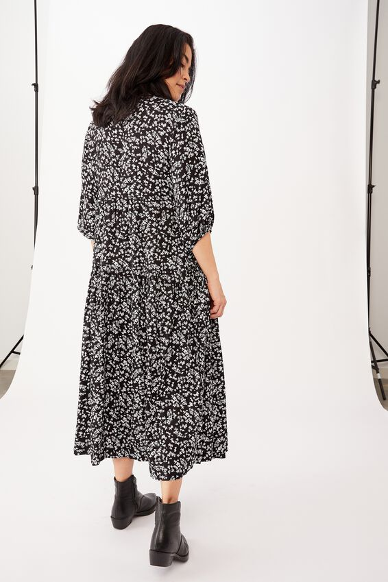 Picnic Wrap Dress, BLACK DITSY